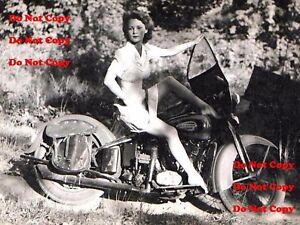 1940-039-s-Harley-Davidson-Motorcycle-Pinup-Girl-8X10-Matte-Photo-Man-Cave-SIGN-PIC