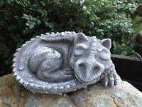 Steinfigur Drache für Garten Deko Steinguss Frostfest
