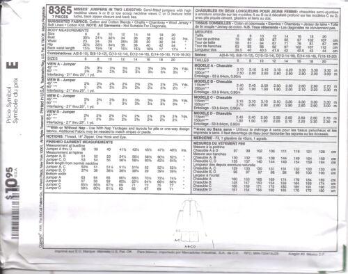 8365 Vintage McCalls SEWING Pattern Misses SemiFitted Jumper High Neckline UNCUT