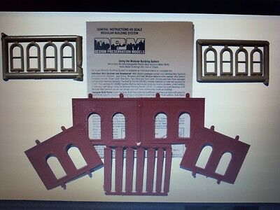 DPM #30112 - 1 Story 4 Walls 8 Arched Windows HO Scale Building Kit Model Trains