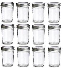Nakpunar-12-pcs-8-oz-Mason-Glass-Jars-w-Silver-Plastisol-Lined-Lids