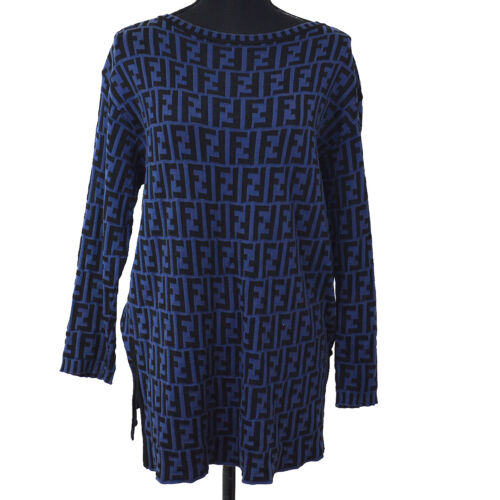 FENDI Round Neck Zucca Pattern Long Sleeve Knit To