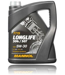 5 Liter Mannol Longlife Motoröl für VW Audi 50400 50700 BMW LL04 Mercedes 229.51