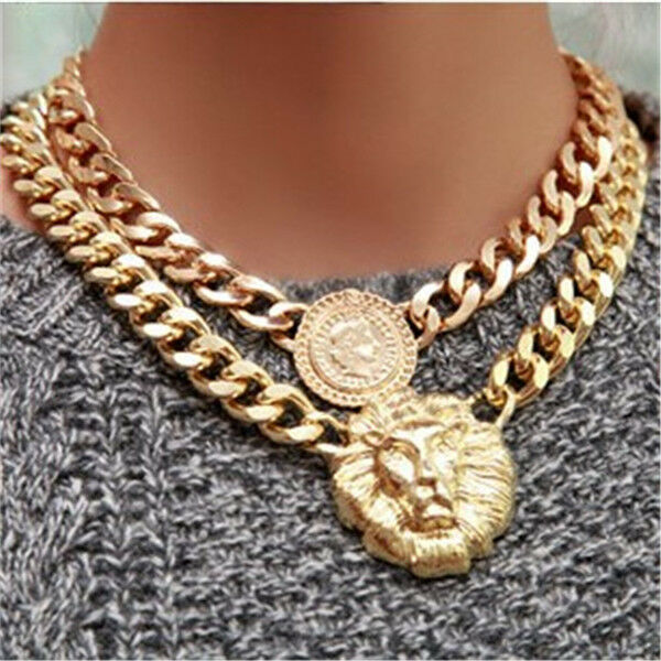 CELEBRIXX SXXLE CHUNKY CHAIN NECKLACE LION HEAD GOLD STATEMENS QUEEN FASHION AU