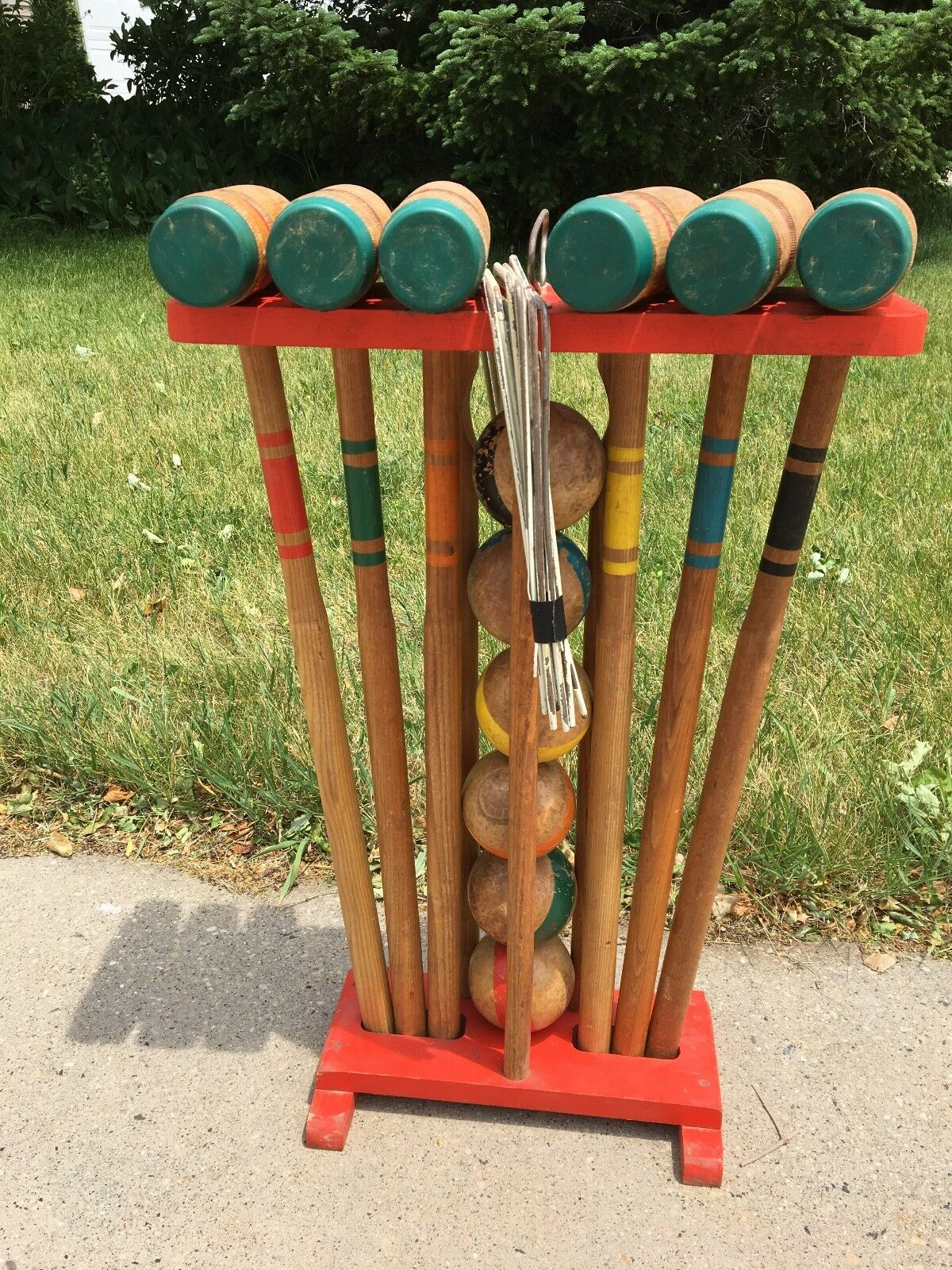 Vintage Wood Croquet Set, 6 Clubs, 6 Balls, 9 hoops and Stand                 j(