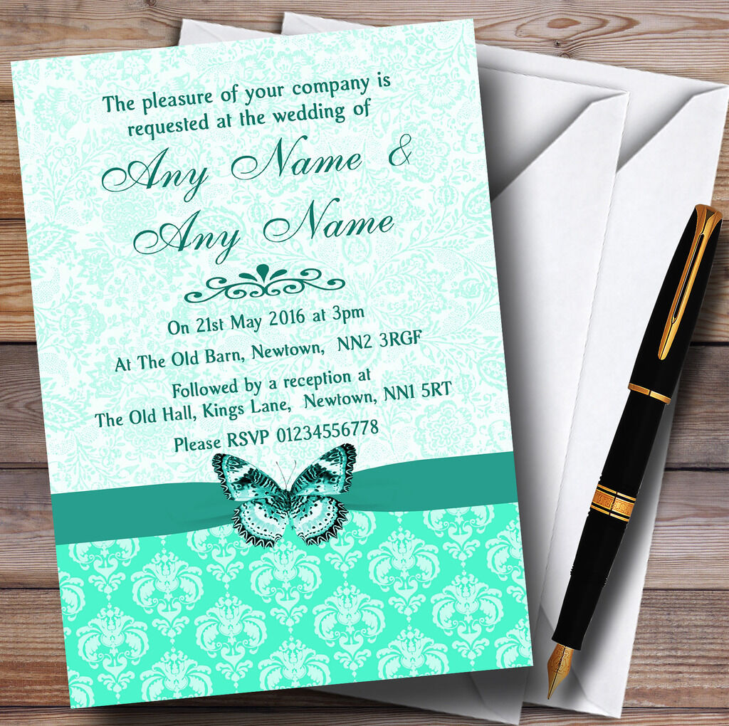 Mint Grün Vintage Floral Damask Butterfly Personalised Wedding Invitations