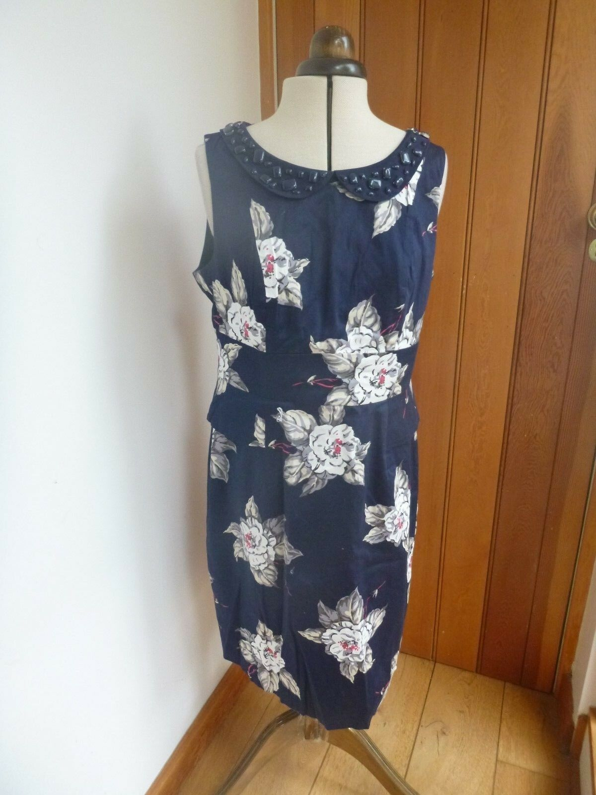 JOULES FRANCESCA PEPLUM NAVY blueE FLOWERS JEWELS DRESS SIZE