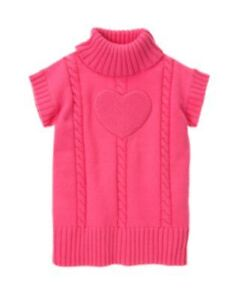 NWT Gymboree Sweater Weather Ivory Pom Heart Sweater Size XS 4