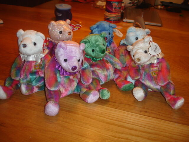 TY RETIRED BEANIE BABIES X 12  FULL SET   MONTH BEARS WITH COLOURED HEADS