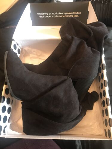 Boots High Shoebox Size Suede Thigh 6 Black IfxPqZwp