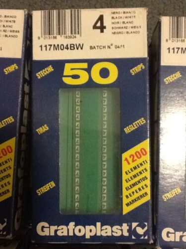 """Grafoplast 117M04BW NUMBER /""""4/"""" 50 Strips NEW IN BOX Wire Markers"""