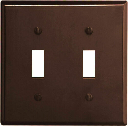 Leviton Brown Standard 2-Gang Toggle Switch Cover Wall plate Switch plates 85009