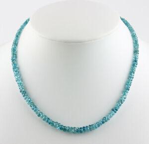 Noble Bleu Zircone Collier de Pierres Précieuses Nature à Facettes Anneau 44 CM