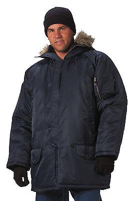 N-3B Snorkel Parka Jacket - Heavy Winter Coat W/ Fur Collar - Black, Sage, Navy
