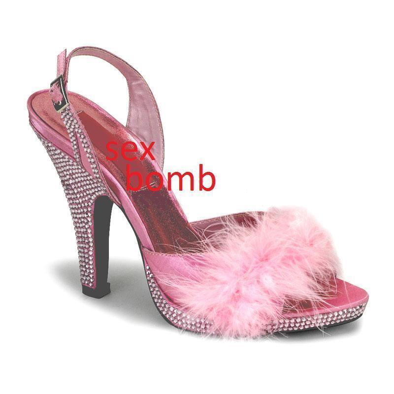 SEXY sandali PIUME strass cinturino mini plateau tacco 10 10 10 n. 37 fashion GLAMOUR 7c0260