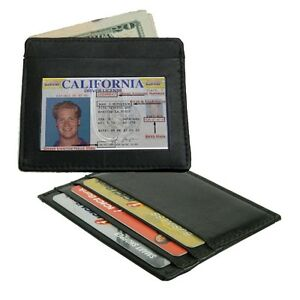 Lots-of-2-Black-Cowhide-Leather-Mens-Wallet-Thin-Credit-Card-ID-Holder