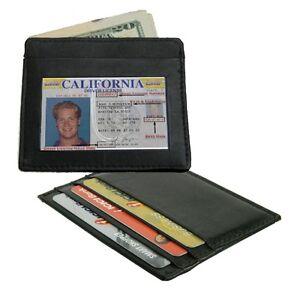 BLACK-Cowhide-Leather-Thin-Men-039-s-Credit-Card-ID-Window-Wallet-Holder-U-S-Seller