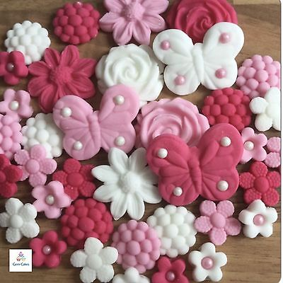 36 Pink Lilac White Wedding Edible Flowers Leaves Cup Cake Toppers Decorations