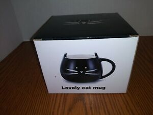 Teagas Lovely Cute Cat Mug,Glossy Black