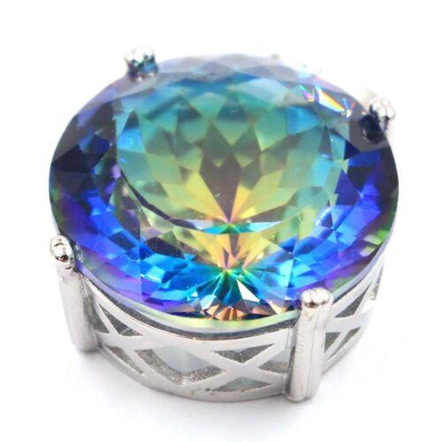 30x20mm SheCrown Big Gemstone 20mm Fire Rainbow Mystic Topaz 925  Silver Pendant