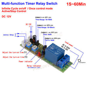 Details about DC 12V Adjustable 0~60min Cycle Loop Delay Timer Time ON OFF  Relay Switch Board