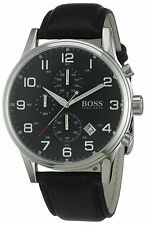 Hugo Boss HB 1512448 Herrenuhr Leder Armband schwarz Uhr Chronograph elegant