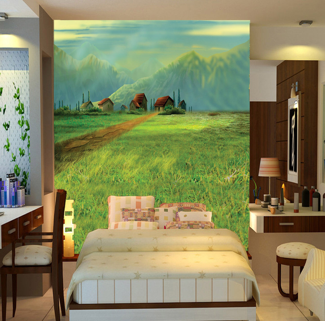 3D Blau mountains and meadow  Wall Paper Wall Print Decal Wall Deco AJ WALLPAPER