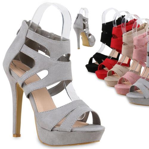 Damen Abiball Sandaletten Plateau High Heels Cut-outs Stilettos 814496 Trendy