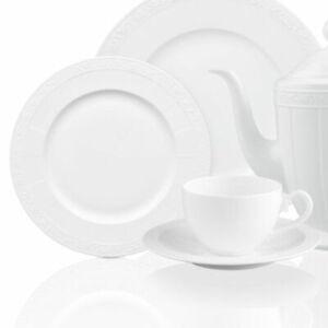 VILLEROY-amp-BOCH-White-Pearl-18tlg-Geschirr-Set-Tafelservice-Teller-Tee-Tasse