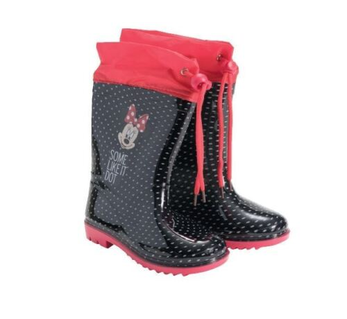 Disney Minnie Mouse Rubber Black /& Red Rain Girls Boots With Shoelaces Eu Sizes