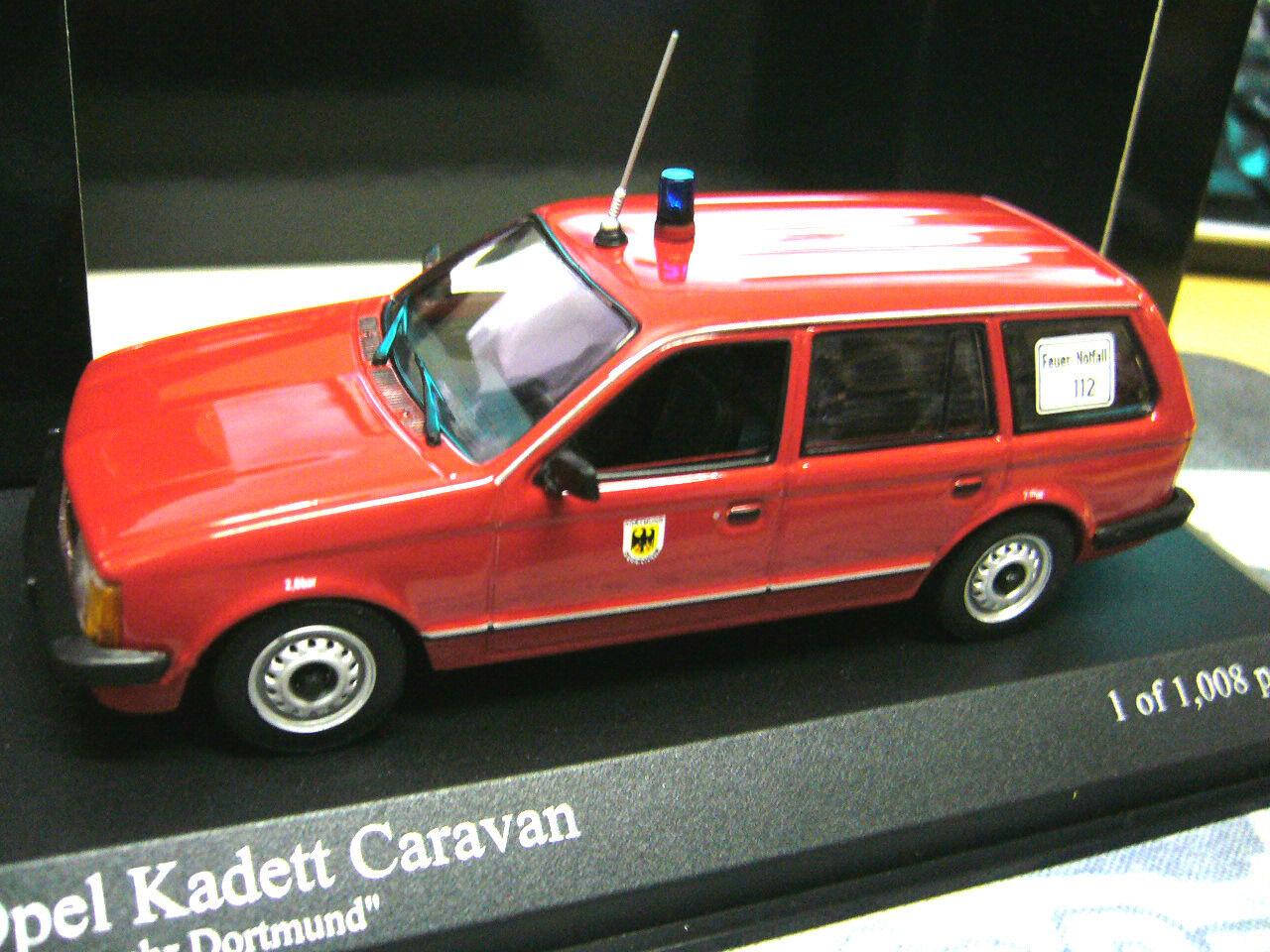 OPEL Kadett D Kombi Caravan pompiers 1979 Dortmund Minichamps pma 1 43