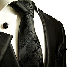 Krawatten Set 3tg schwarz paisley SEIDE Paul Malone 815
