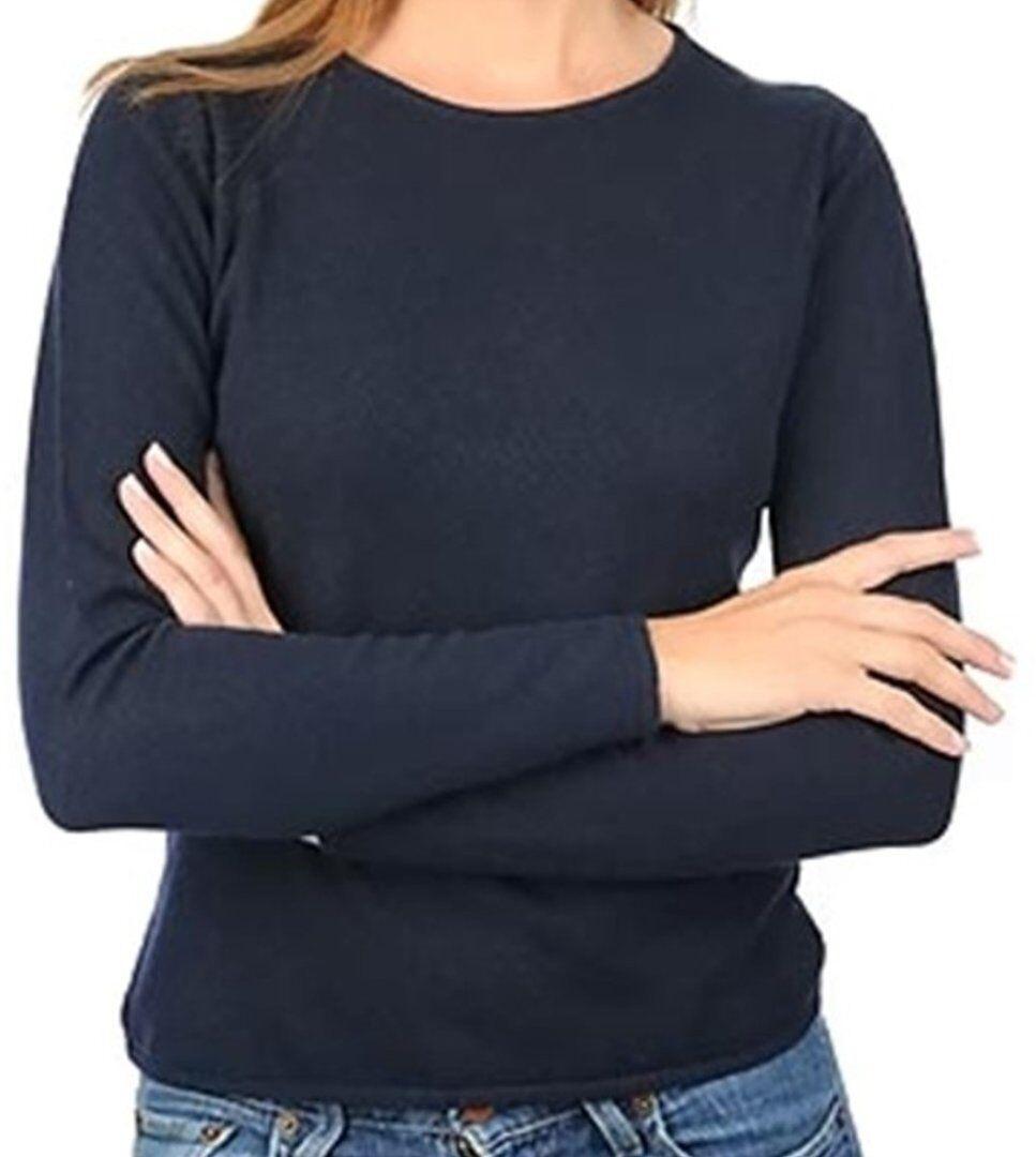 Balldiri 100% Cashmere Damen Pullover Rundhals 2-fädig nachtblau M