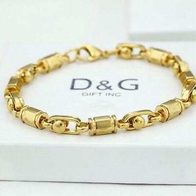 """DG Men's 8"""" Gold Stainless Steel 6mm Link Chain Bracelet*Unisex*Classic + Box"""