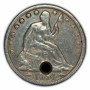 1854-O Arrows 50c Seated Liberty Silver Half Dollar - VF Details - SKU-H1089