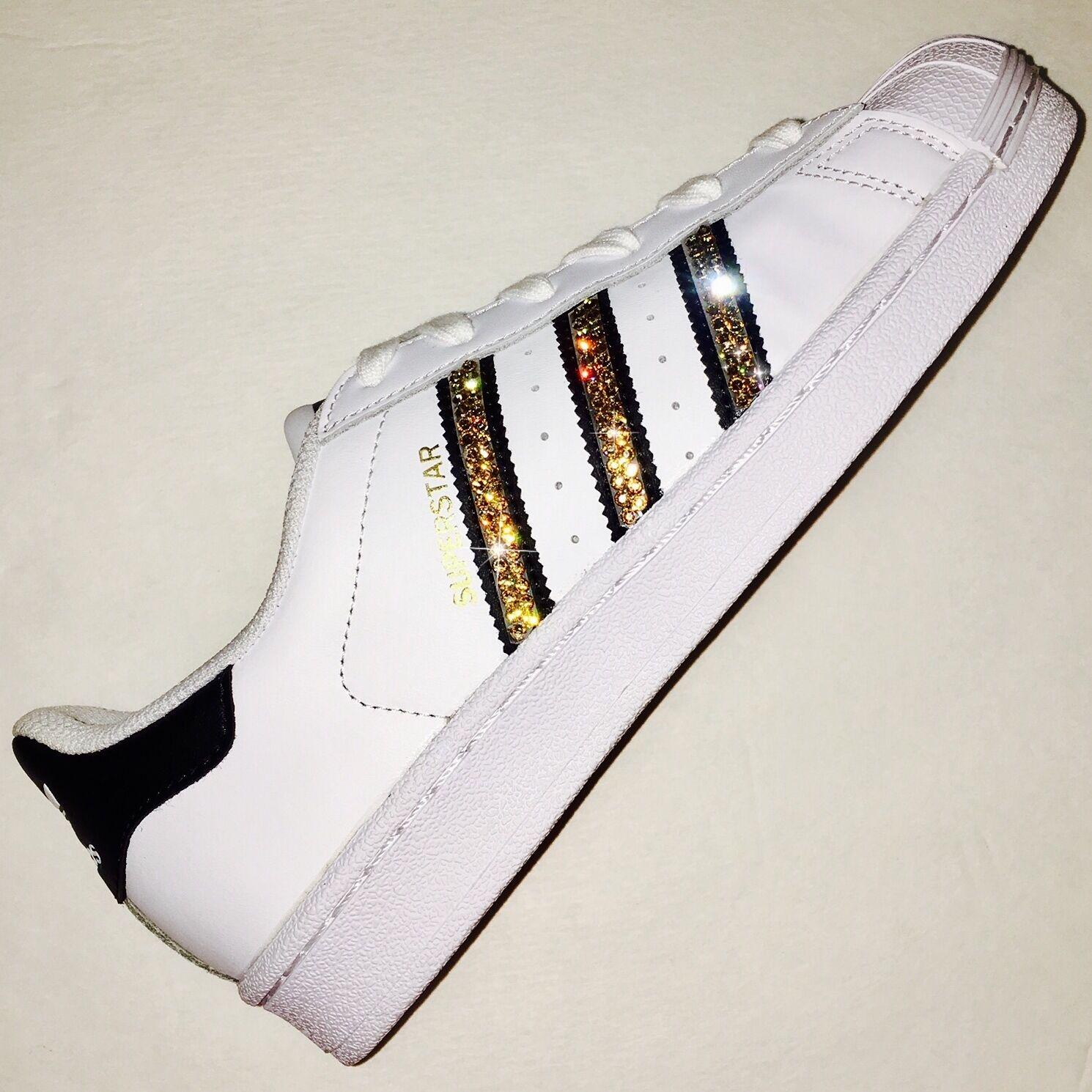 Bling Zapatos Adidas mujer con cristales de Swarovski Originales Superstar negro con oro