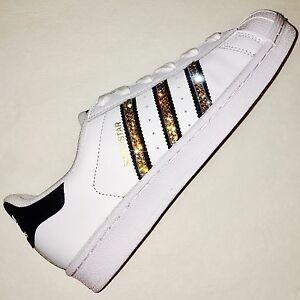 29973f970d9ba Details about Bling Women's Adidas Shoes w/Swarovski Crystals Originals  Superstar Black w/Gold