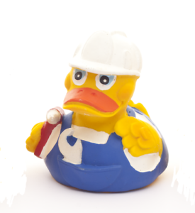 LANCO Natural Rubber Bath Toy duck the builder