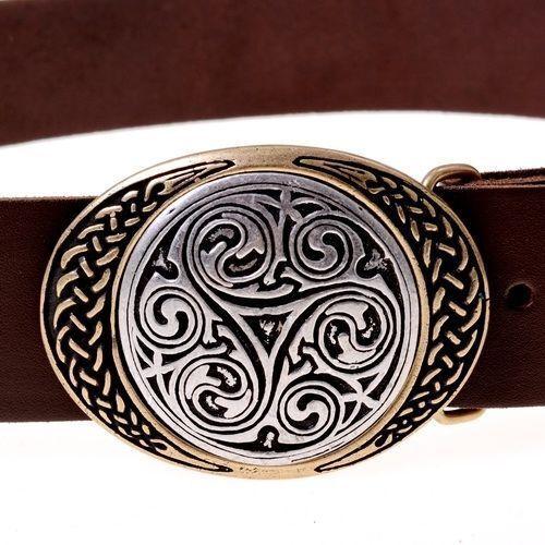 Celtique Boucle Triskèle Ceinture 4 cm Larp Reconstitution Vêtements - Neuf
