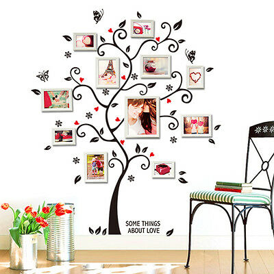 Chic Family Photo Frame Tree Flower Mural Wall Sticker Home Decor Decals