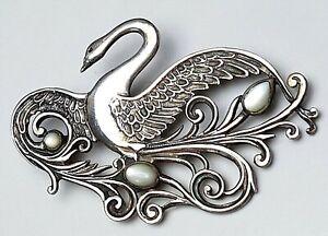 Grosse-Jugendstil-Silber-Brosche-um-1910-925-Silber-Meisterpunze-SCHWAN-A663
