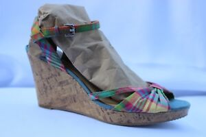1a3eee9ff5a Details about Tommy Hilfiger Inya Plaid Wedge Platform Ankle Strap Sandals  Size 7.5 M