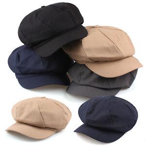 c0dd922d2ddd4 Unisex Mens Womens Cotton Plain Baker Boy Cabbie Gatsby Flat Cap ...