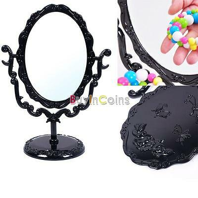 Desktop Gothic Small Size Rose Makeup Stand Mirror Black Butterfly HYUK