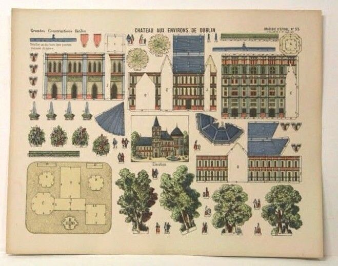 Imagerie d'epinal No55 Chateau Dublín, grandes construcción juguete modelo de papel