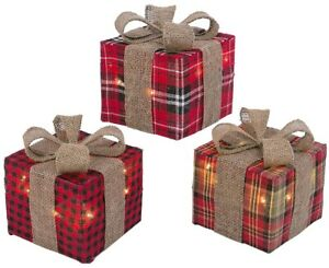 Set-of-3-Lighted-Flannel-Plaid-Burlap-Christmas-Presents-Gifts-Gift-Boxes-Decor