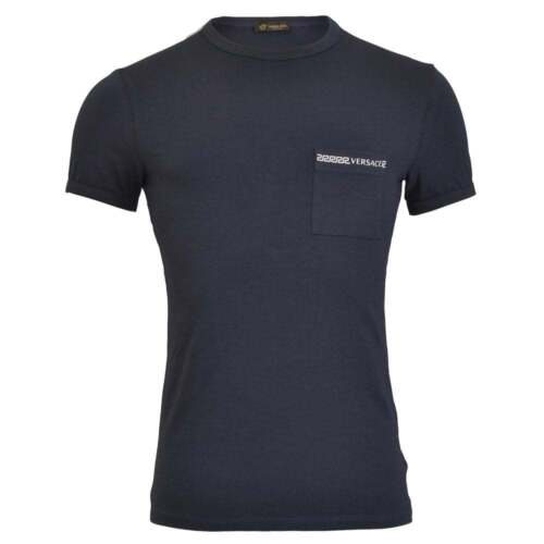 navy cotone blu in T shirt iconico Versace uomo Underwear da stretch girocollo WUBwRPqv