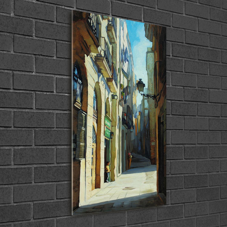Immagine muro ARTE-STAMPA su duro-vetro perpendicolare 50x100 strade di Barcellona