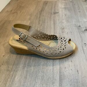 Spring-Step-Made-In-Italy-Slingback-Wedge-Sandal-Peep-Toe-Size-39-US-8-5