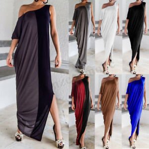 11cfbfeb6a0a UK 8-24 Womens One Off Shoulder Side Split Evening Party Long Maxi ...
